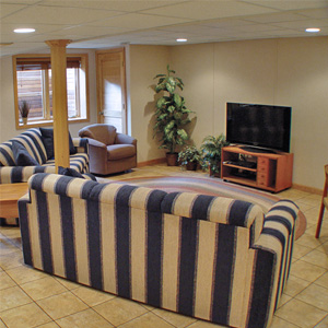 A Finished Basement Living Room Area in Carol Stream, IL