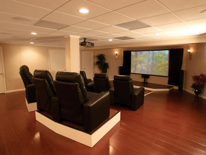 Remodeled basement product warranties by total basement for Finished basement designs