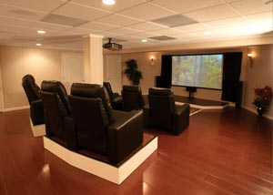 a home theater in a finished basement